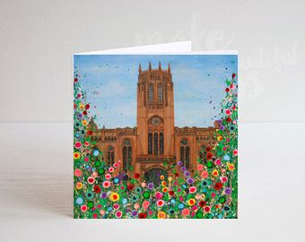 Jo Gough - Liverpool Anglican Cathedral with flowers Greeting Card