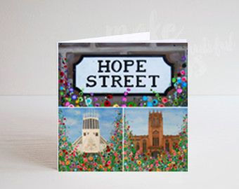 Jo Gough - Liverpool Cathedral Montage with flowers Greeting Card