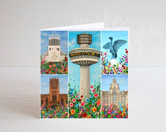 Jo Gough - Liverpool Landmarks with flowers Greeting Card