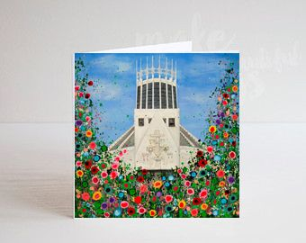 Jo Gough - Liverpool Metropolitan Cathedral with flowers Greeting Card