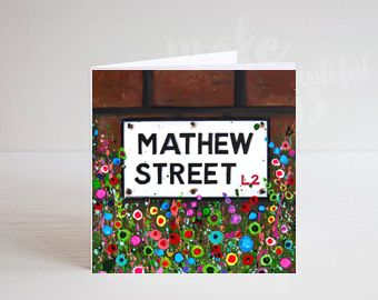 Jo Gough - Mathew St Sign Liverpool with flowers Greeting Card