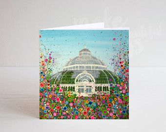Jo Gough - Palm House Liverpool with flowers Greeting Card