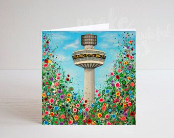 Jo Gough - Radio City Tower Liverpool with flowers Greeting Card