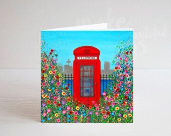 Jo Gough - Red Telephone Box with flowers Greeting Card