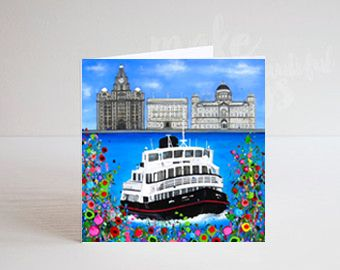 Jo Gough - The 3 Graces Liverpool with flowers Greeting Card