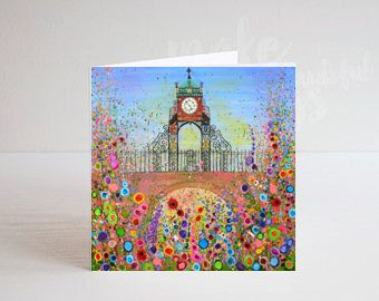 Jo Gough - Chester Clock with flowers Greeting Card