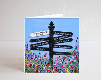 Jo Gough - Chester Finger Post with flowers Greeting Card
