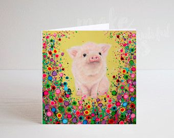 Jo Gough - Piglet with flowers Greeting Card