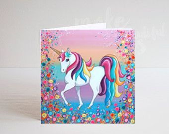 Jo Gough - Unicorn with flowers Greeting Card