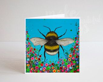 Jo Gough - Bumble Bee with flowers Greeting Card