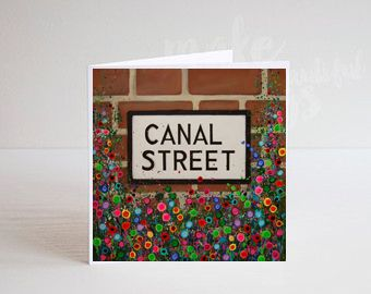 Jo Gough - Canal St Sign Manchester with flowers Greeting Card
