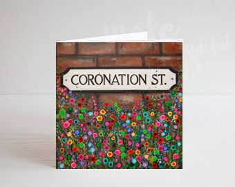 Jo Gough - Coronation St Sign Manchester with flowers Greeting Card