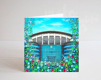 Jo Gough - MCFC Etihad Stadium with flowers Greeting Card