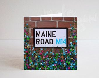 Jo Gough - MCFC Maine Road Street Sign with flowers Greeting Card