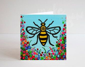 Jo Gough - Manchester Bee with flowers Greeting Card