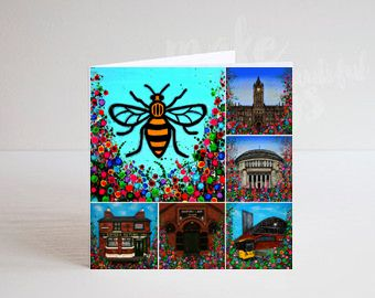 Jo Gough - Manchester Landmarks with flowers Greeting Card