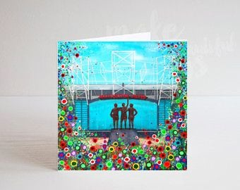 Jo Gough - MCFC Old Trafford Stadium with flowers Greeting Card