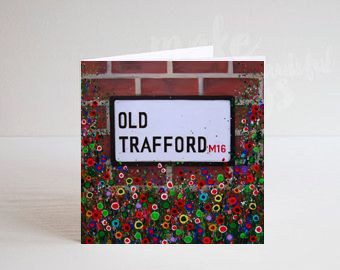 Jo Gough - MUFC Old Trafford Street Sign with flowers Greeting Card