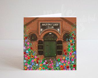 Jo Gough - Salford Lads Club Manchester with flowers Greeting Card