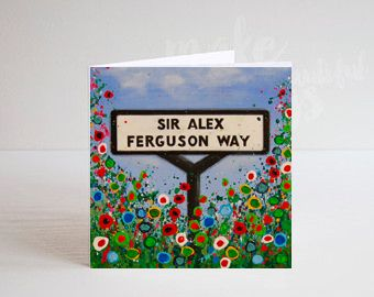 Jo Gough - MUFC Sir Alex Ferguson Way Sign with flowers Greeting Card