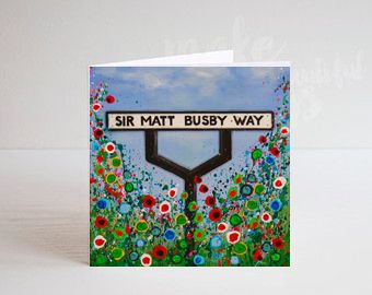 Jo Gough - MUFC Sir Matt Busby Way Sign with flowers Greeting Card
