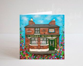 Jo Gough - Rovers Return Pub Manchester with flowers Greeting Card