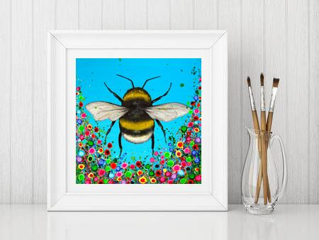 Jo Gough - Bumble Bee with flowers Print From £10