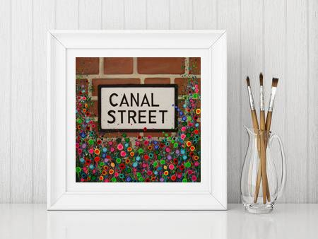 Jo Gough - Canal Street Sign Manchester with flowers Print From £10