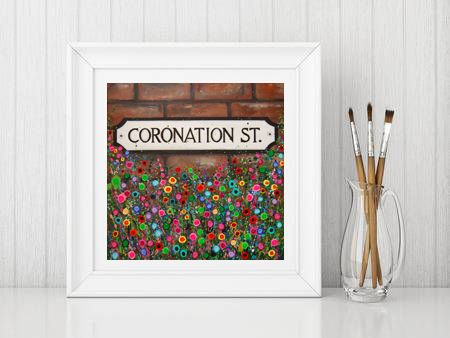 Jo Gough - Coronation Street Sign Manchester with flowers Print From £10