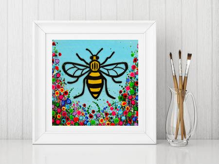 Jo Gough - Manchester Bee with flowers Print From £10