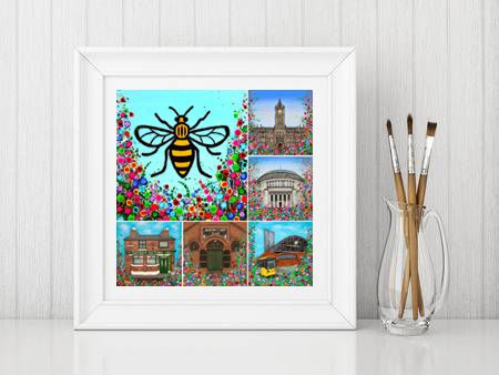 Jo Gough - Manchester Landmarks with flowers Print From £10