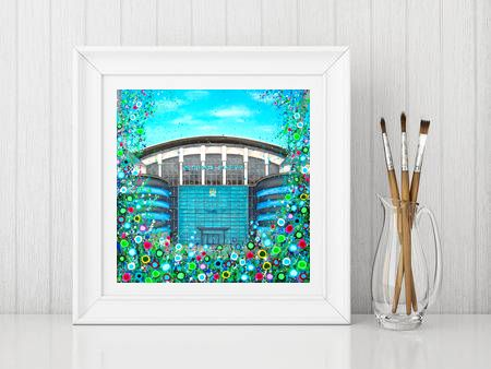 Jo Gough - MCFC Etihad Stadium with flowers Print From £10