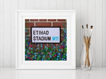 Jo Gough - MCFC Etihad Stadium Street Sign with flowers Print From £10