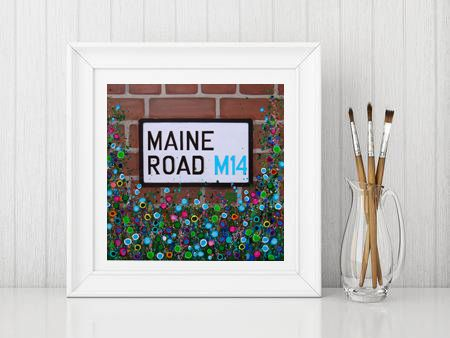 Jo Gough - MCFC Maine Road Street Sign with flowers Print From £10