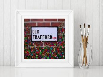 Jo Gough - MUFC Old Trafford Street Sign with flowers Print From £10
