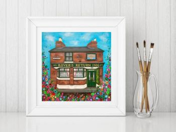Jo Gough - The Rovers Return Pub Manchester with flowers Print From £10