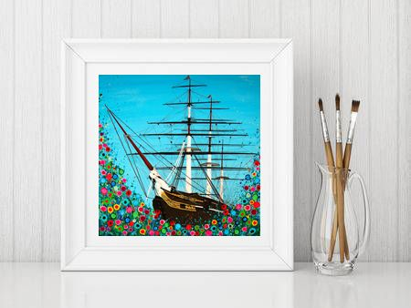 Jo Gough - Cutty Sark Greenwich with flowers Print From £10