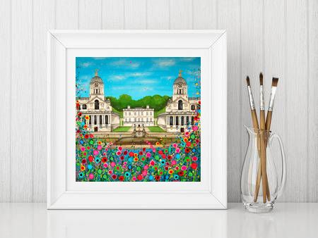 Jo Gough - Royal Naval College Greenwich with flowers Print From £10