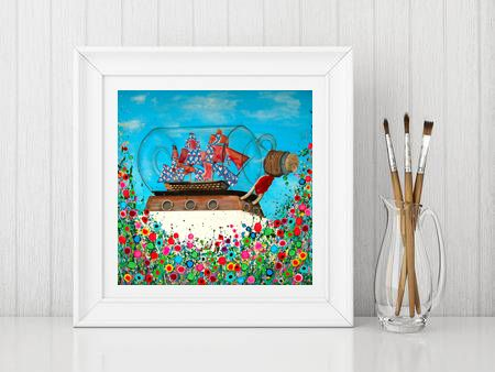 Jo Gough - Ship in a Bottle Greenwich with flowers Print From £10