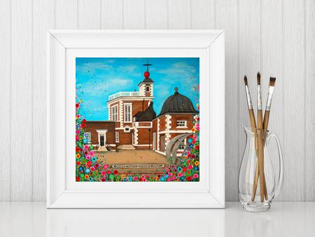 Jo Gough - The Observatory Greenwich with flowers Print From £10