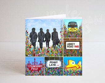 Jo Gough - Beatles Montage with flowers Greeting Card