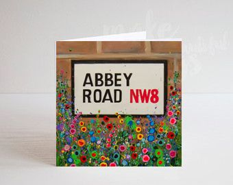 Jo Gough - The Beatles Abbey Road St Sign with flowers Greeting Card