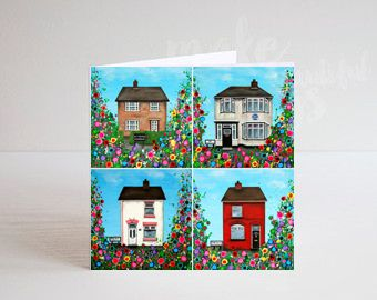 Jo Gough - The Beatles Childhood Homes with flowers Greeting Card