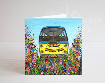 Jo Gough - The Beatles Magical Mystery Tour Bus with flowers Greeting Card