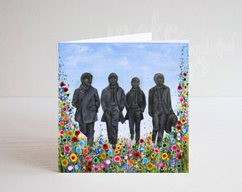 Jo Gough - The Beatles Statues with flowers Greeting Card