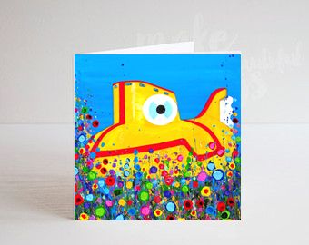 Jo Gough - The Beatles Yellow Submarine with flowers Greeting Card