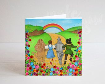 Jo Gough - Wizard of Oz Dorothy and Friends with flowers Greeting Card