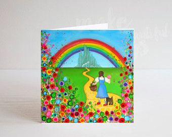 Jo Gough - Wizard of Oz Dorothy and Toto with flowers Greeting Card