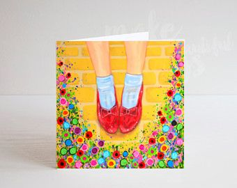 Jo Gough - Wizard of Oz Ruby Slippers with flowers Greeting Card