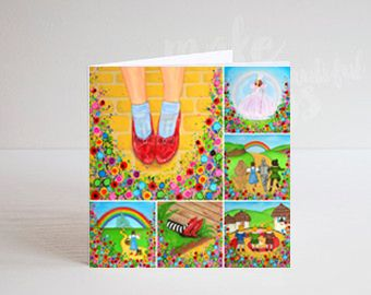 Jo Gough - Wizard of Oz Montage with flowers Greeting Card